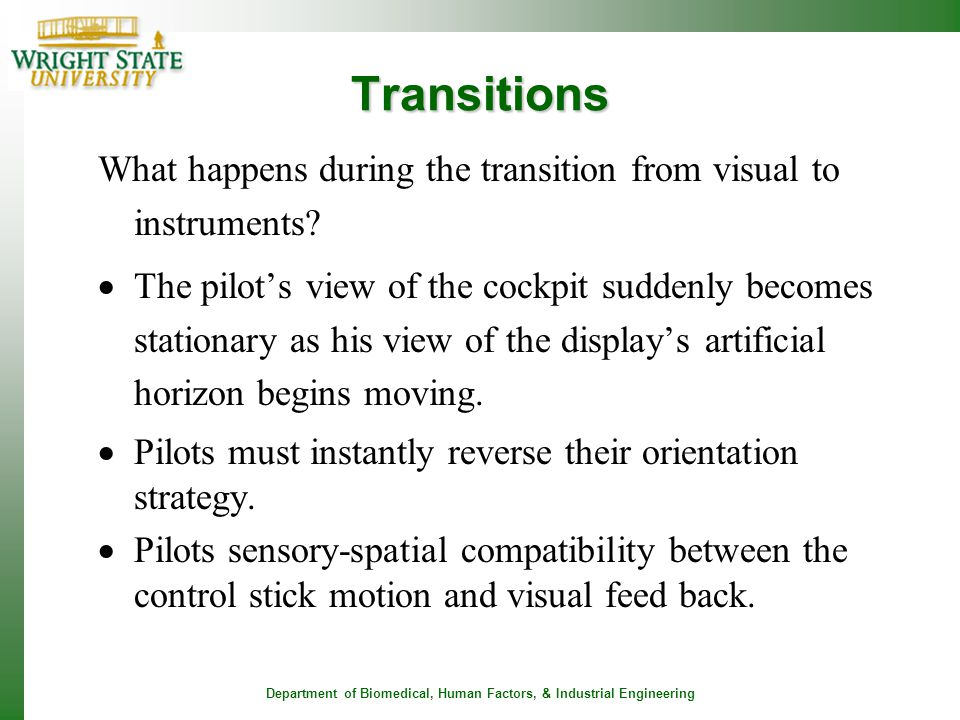 Transitions What happens during the transition from visual to instruments