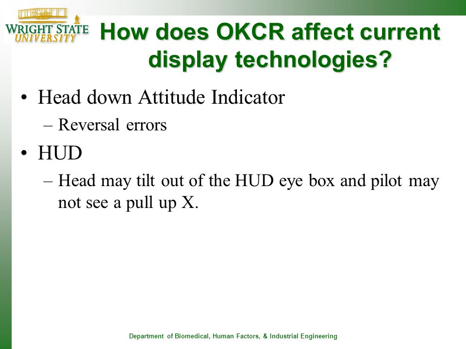 How does OKCR affect current display technologies