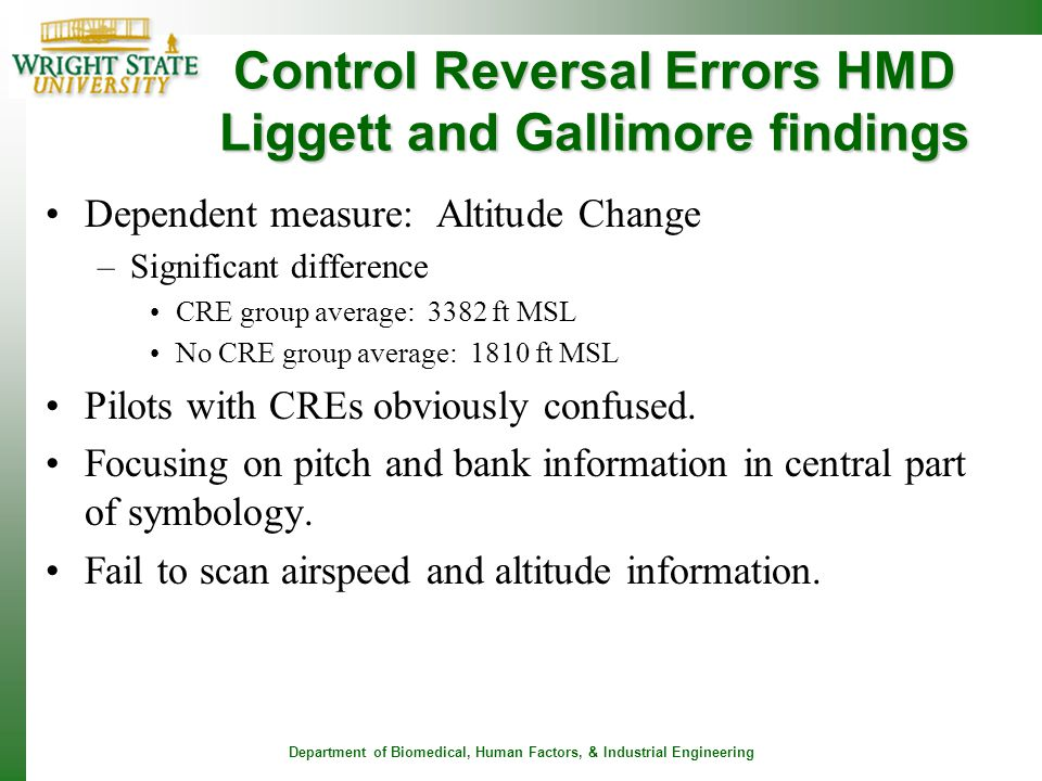 Control Reversal Errors HMD Liggett and Gallimore findings