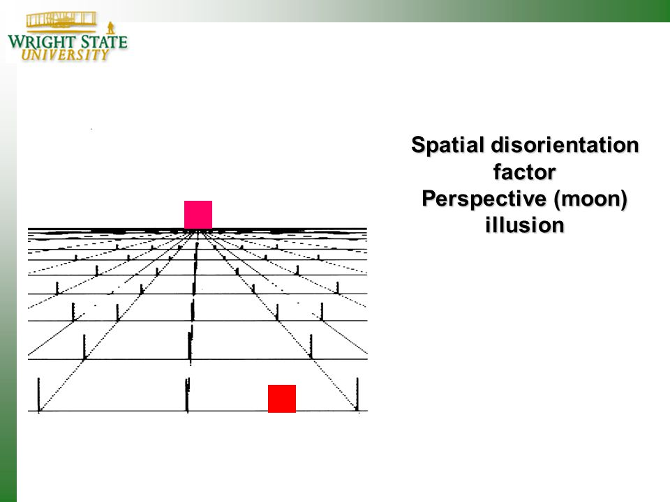 Spatial disorientation factor Perspective (moon) illusion
