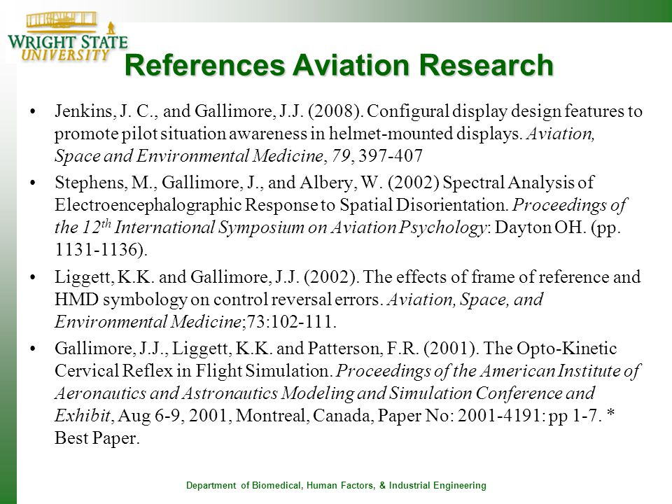 References Aviation Research
