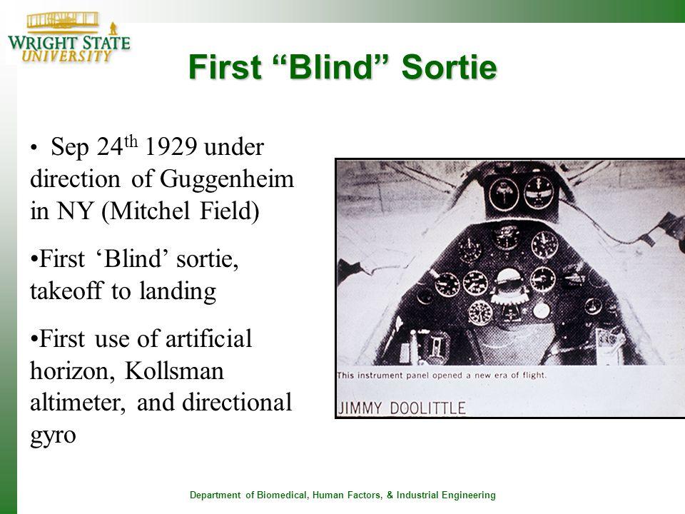 First Blind Sortie First 'Blind' sortie, takeoff to landing