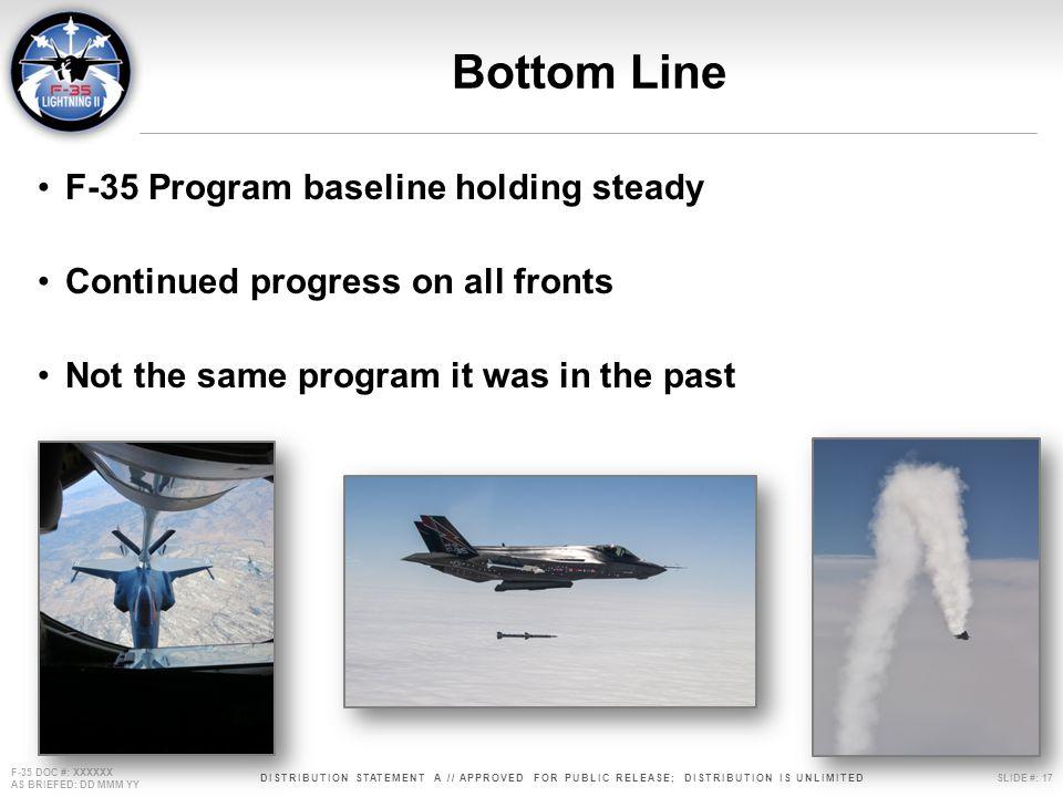 Bottom Line F-35 Program baseline holding steady