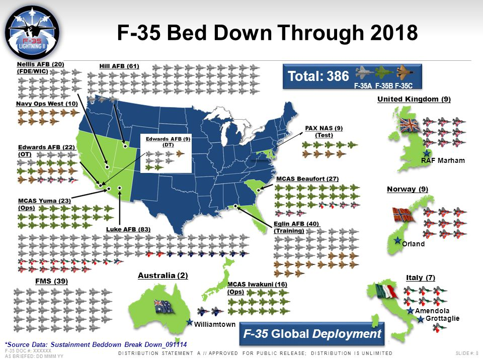 F-35 Bed Down Through 2018 Total: 386 F-35 Global Deployment F-35A