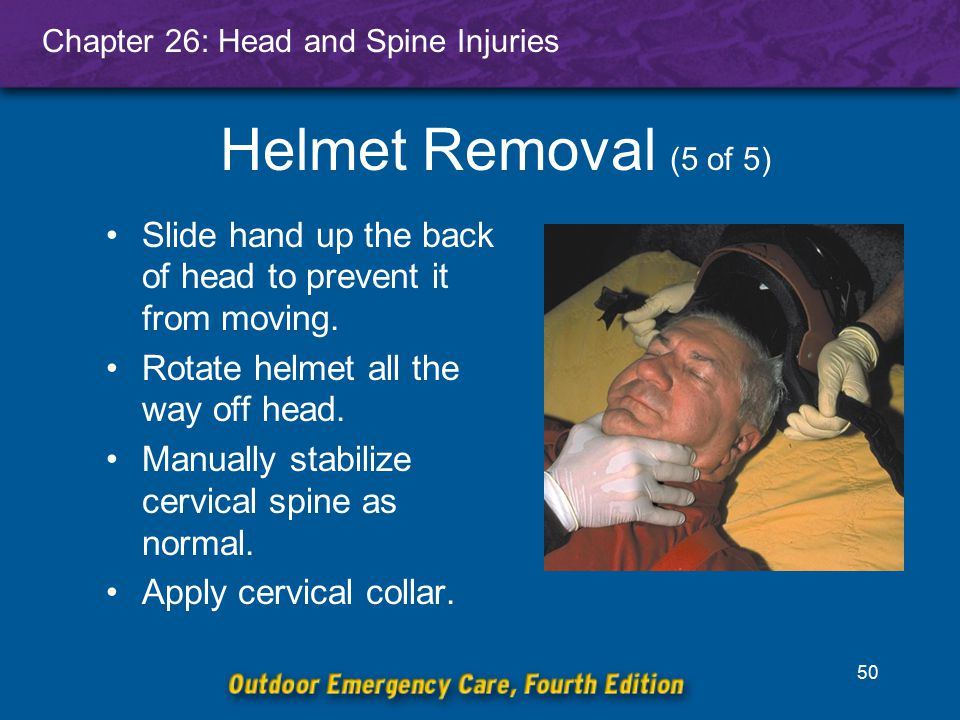 Helmet Removal (5 of 5) Slide hand up the back of head to prevent it from moving. Rotate helmet all the way off head.
