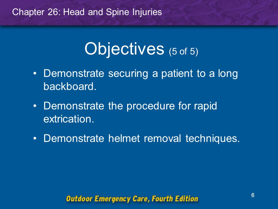 Objectives (5 of 5) Demonstrate securing a patient to a long backboard. Demonstrate the procedure for rapid extrication.