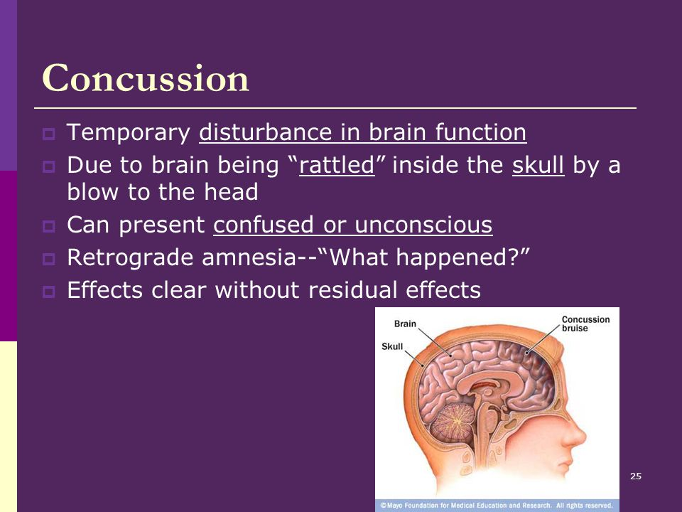 Concussion Temporary disturbance in brain function