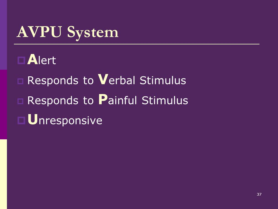 AVPU System Alert Unresponsive Responds to Verbal Stimulus