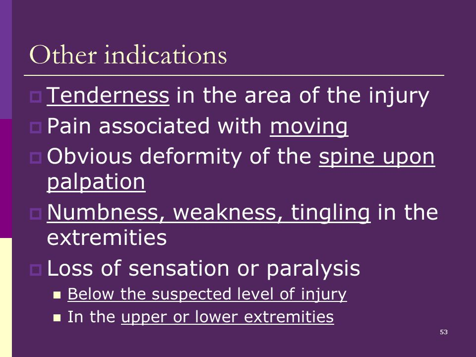 Other indications Tenderness in the area of the injury