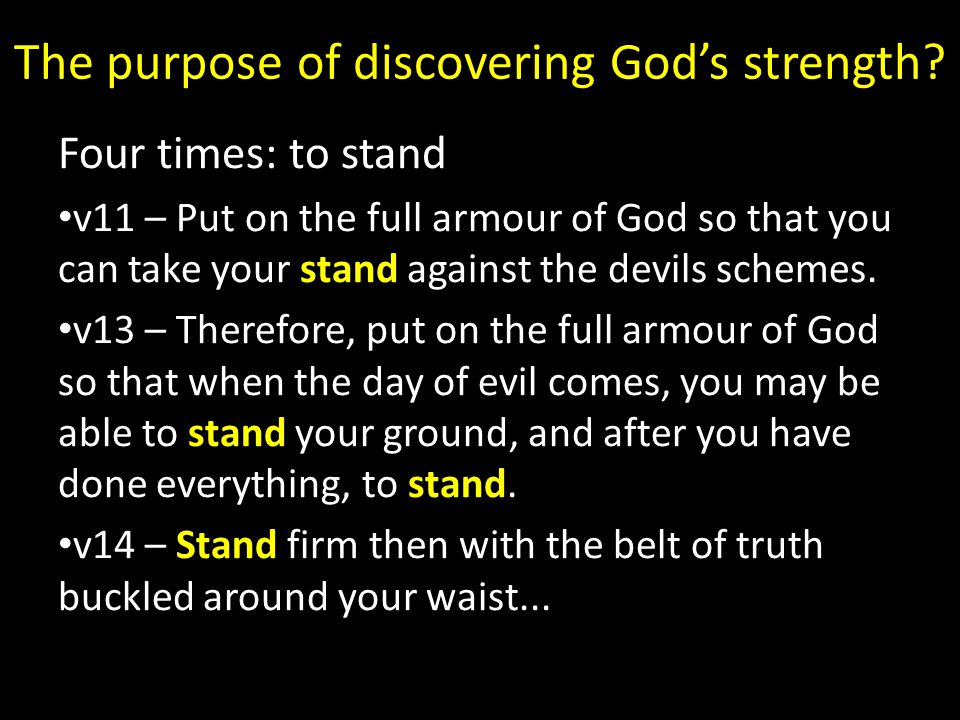 The purpose of discovering God's strength