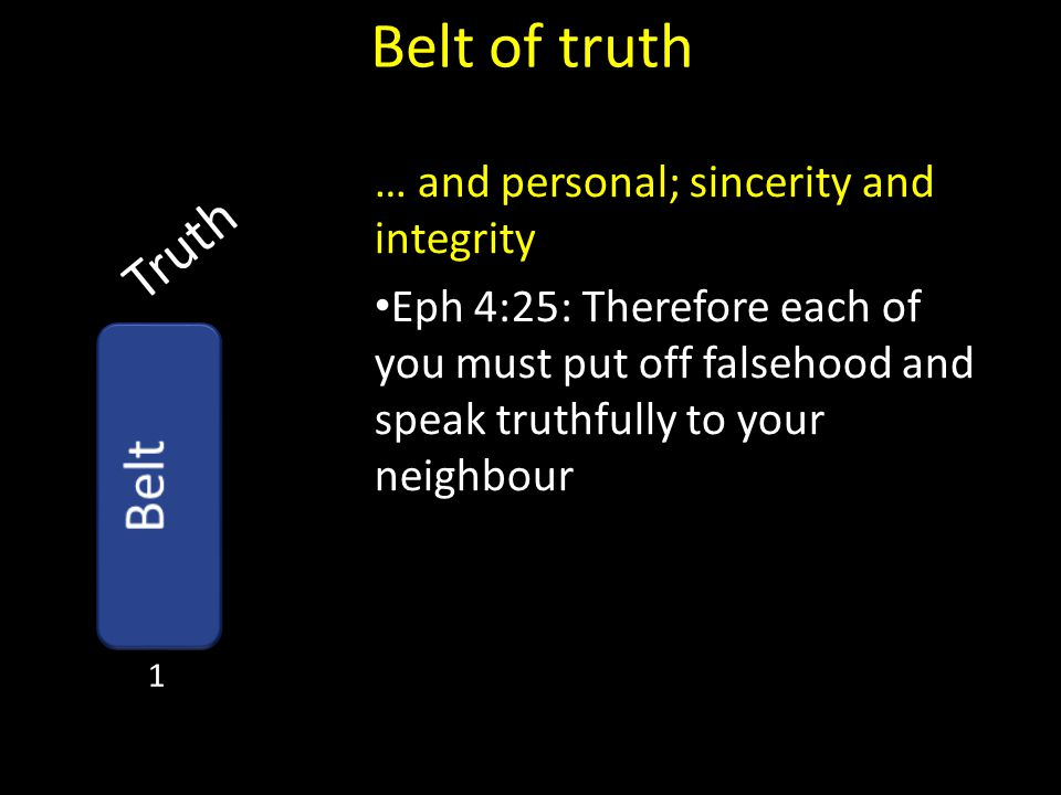 Belt of truth Truth Belt … and personal; sincerity and integrity
