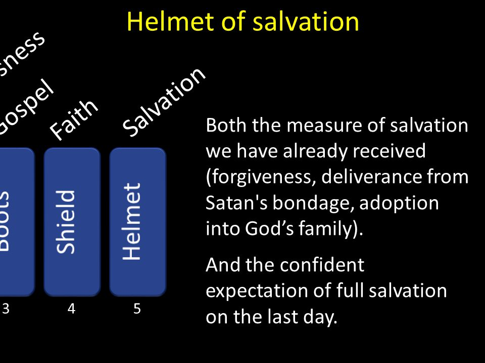 Helmet of salvation Righteousness Salvation Gospel Faith Helmet Boots