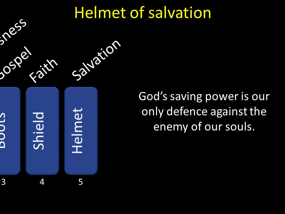God's saving power is our only defence against the enemy of our souls.