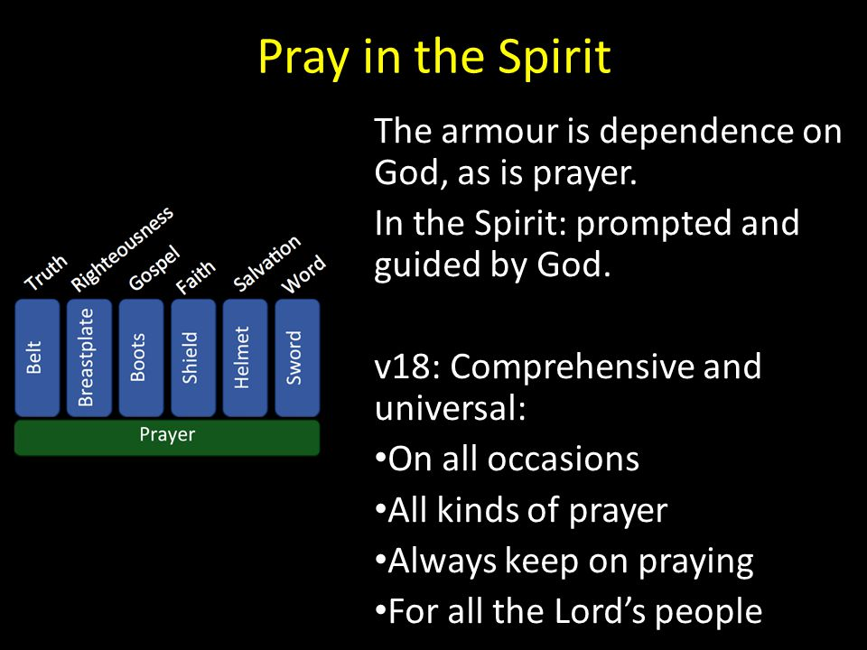 Pray in the Spirit The armour is dependence on God, as is prayer.