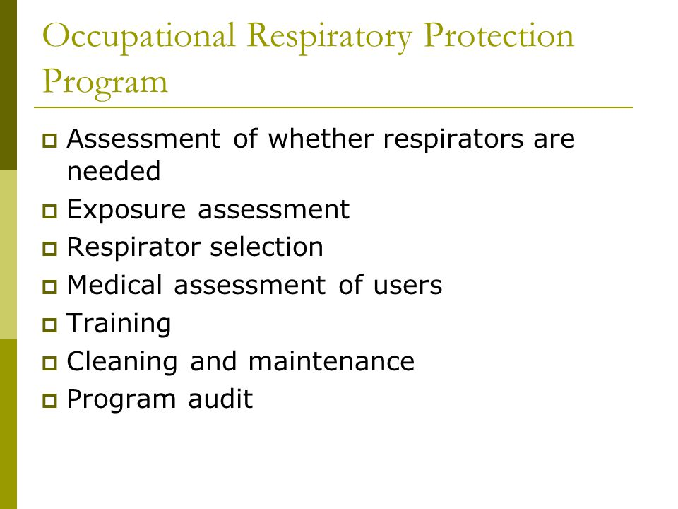 Occupational Respiratory Protection Program