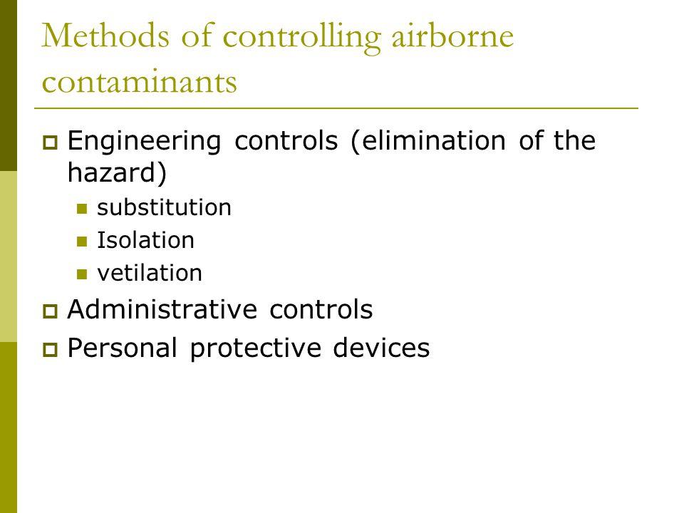 Methods of controlling airborne contaminants