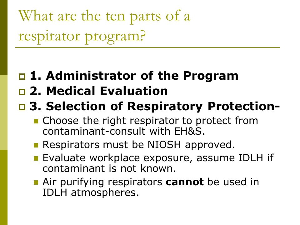 What are the ten parts of a respirator program