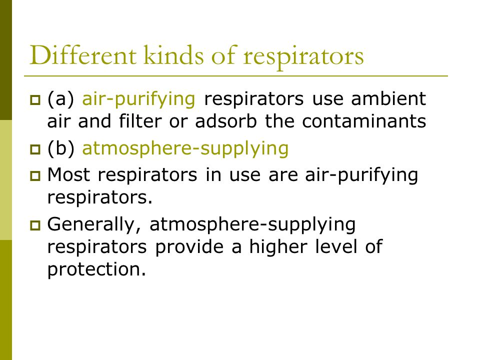 Different kinds of respirators