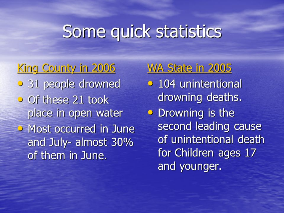 Some quick statistics King County in 2006 31 people drowned