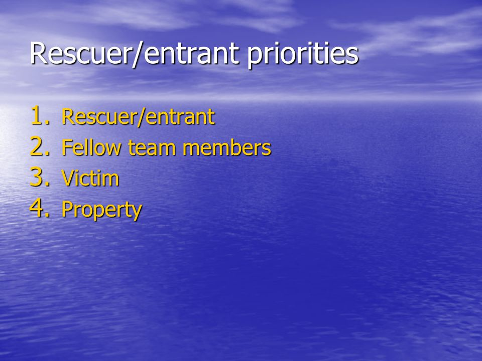 Rescuer/entrant priorities