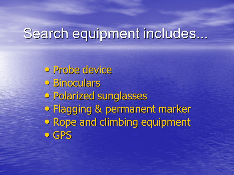 Search equipment includes...