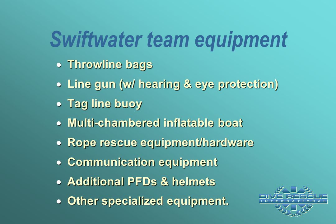Swiftwater team equipment