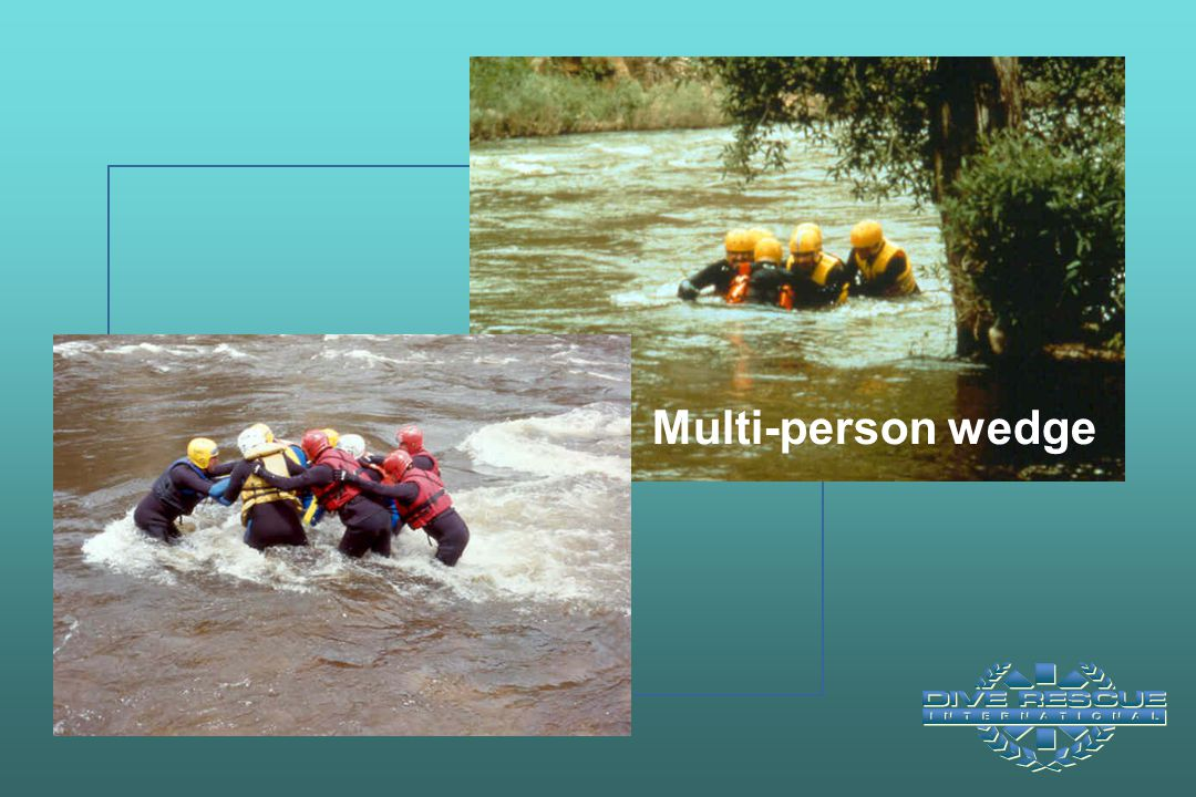 Multi-person wedge Biggest person in front facing downstream. All others interlocked. Move in unison with good communication.