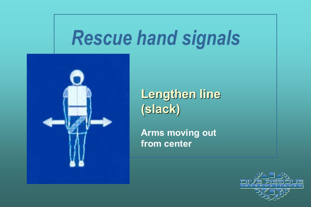 Rescue hand signals Lengthen line (slack) Arms moving out from center