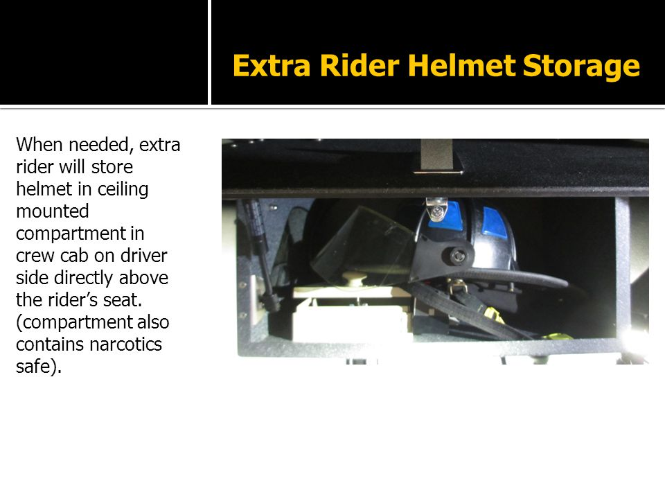 Extra Rider Helmet Storage