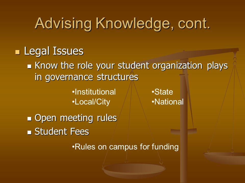 Advising Knowledge, cont.