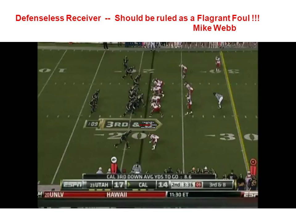 Defenseless Receiver -- Should be ruled as a Flagrant Foul !!!