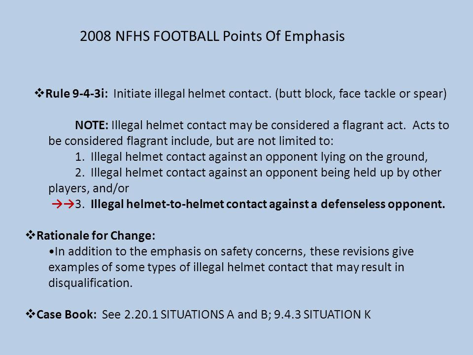 2008 NFHS FOOTBALL Points Of Emphasis