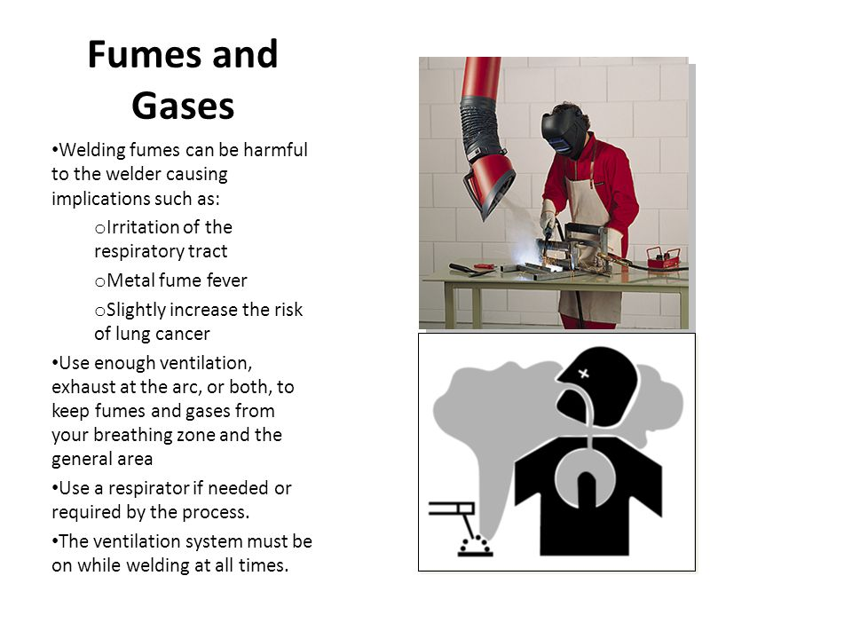 Fumes and Gases Welding fumes can be harmful to the welder causing implications such as: Irritation of the respiratory tract.