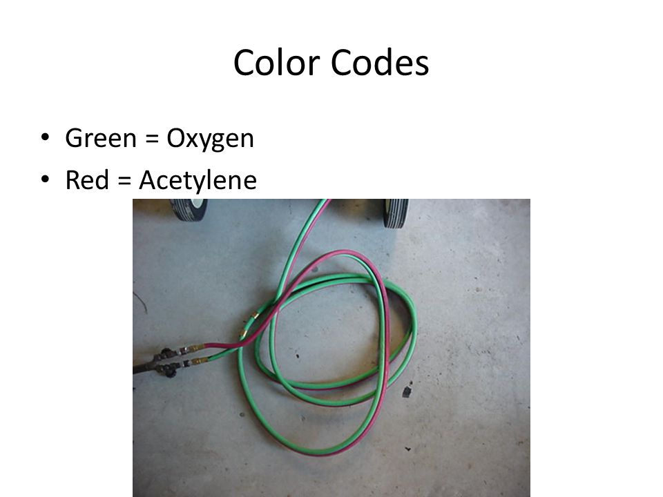 Color Codes Green = Oxygen Red = Acetylene