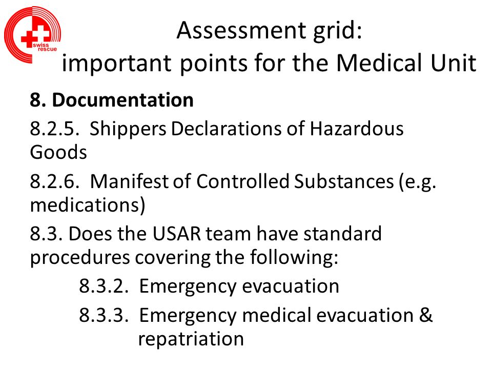 Assessment grid: important points for the Medical Unit