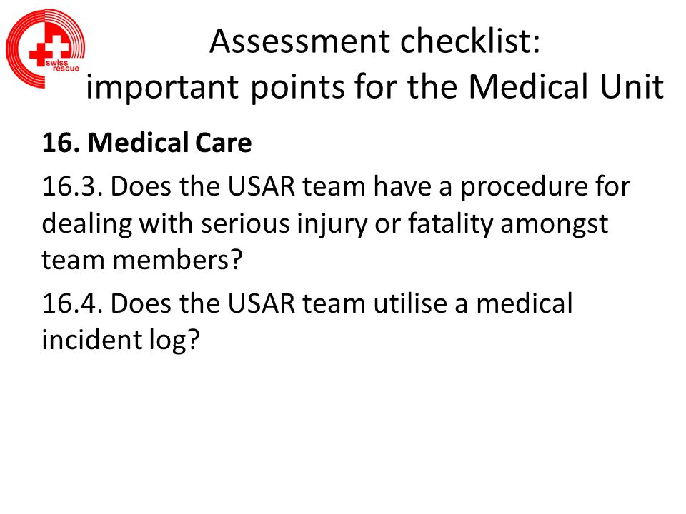 Assessment checklist: important points for the Medical Unit