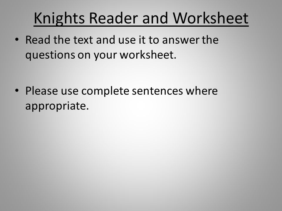 Knights Reader and Worksheet