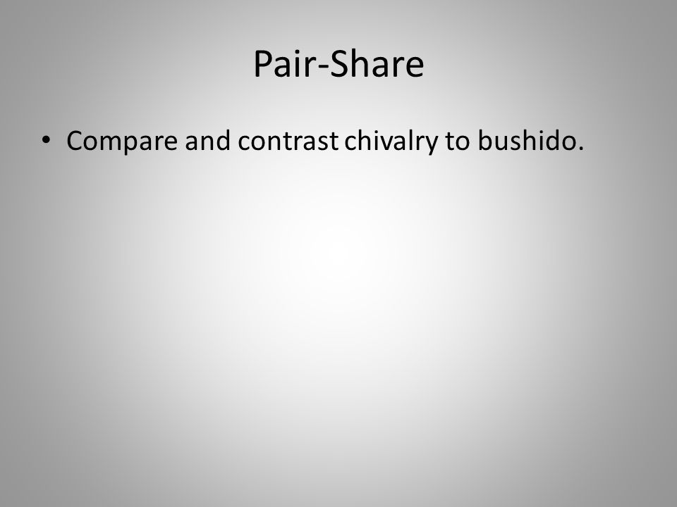 Pair-Share Compare and contrast chivalry to bushido.