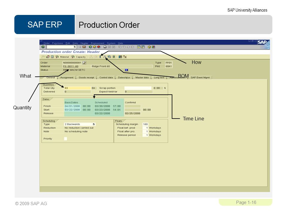 Production Order BOM How What Quantity Time Line