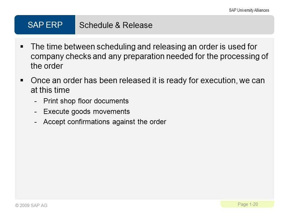 Schedule & Release