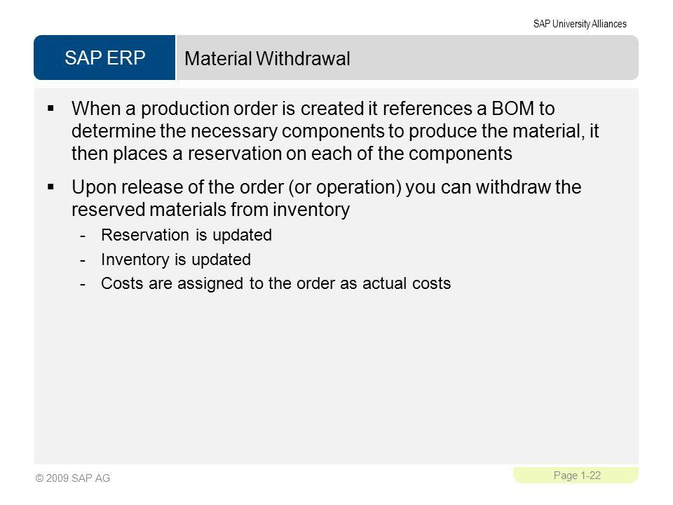 Material Withdrawal