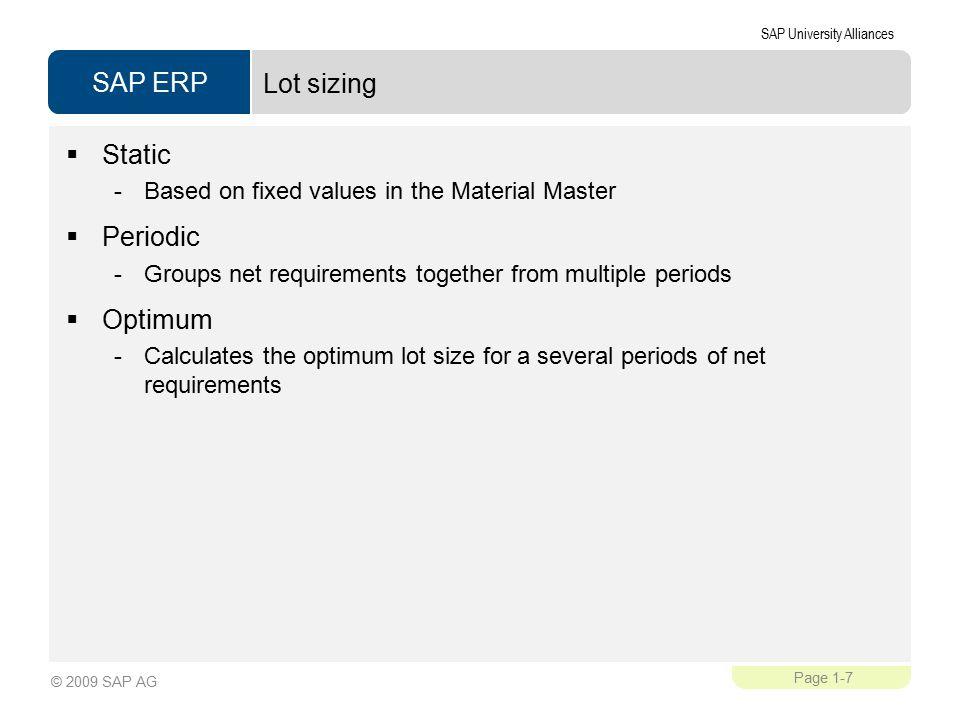 Lot sizing Static Periodic Optimum