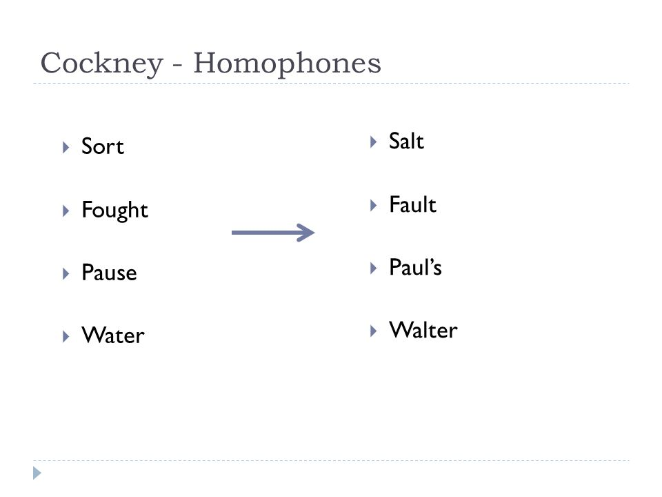 Cockney - Homophones Salt Fault Paul's Walter Sort Fought Pause Water