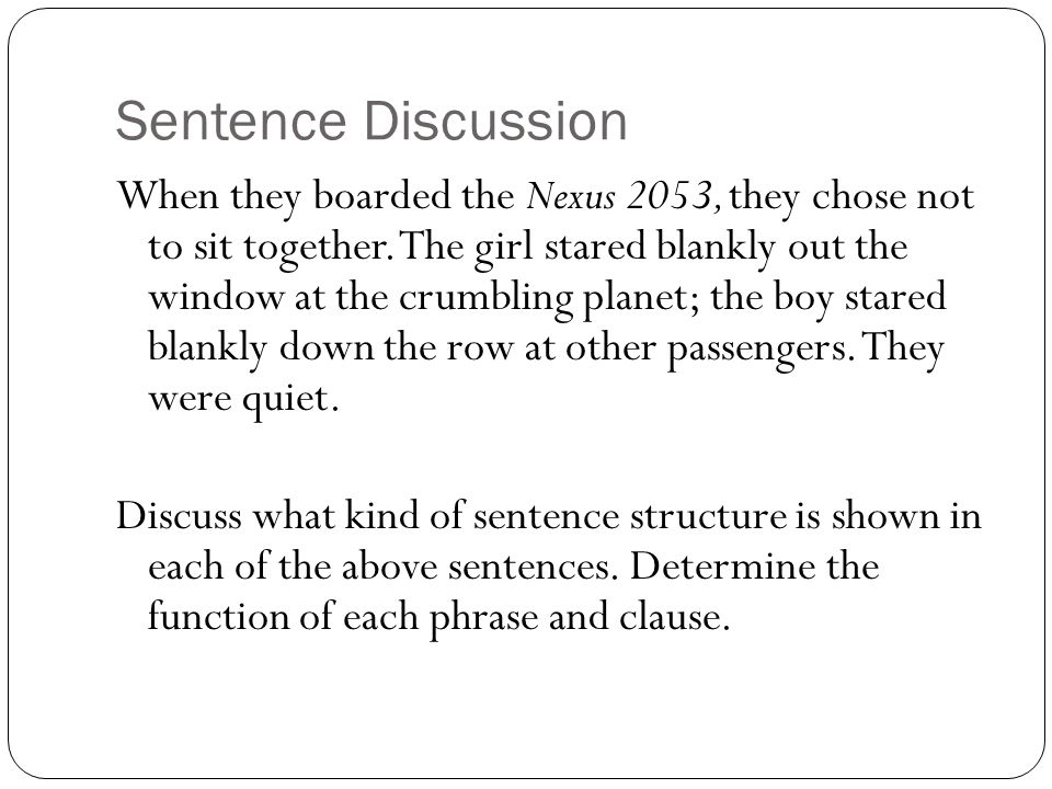 Sentence Discussion