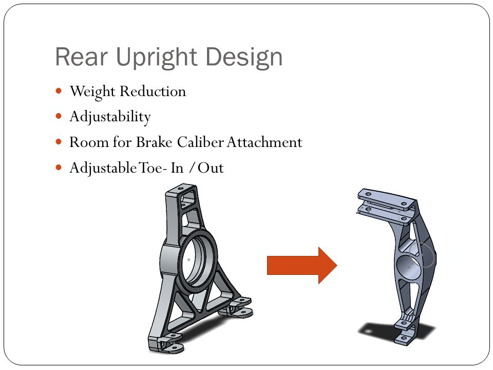Rear Upright Design Weight Reduction Adjustability