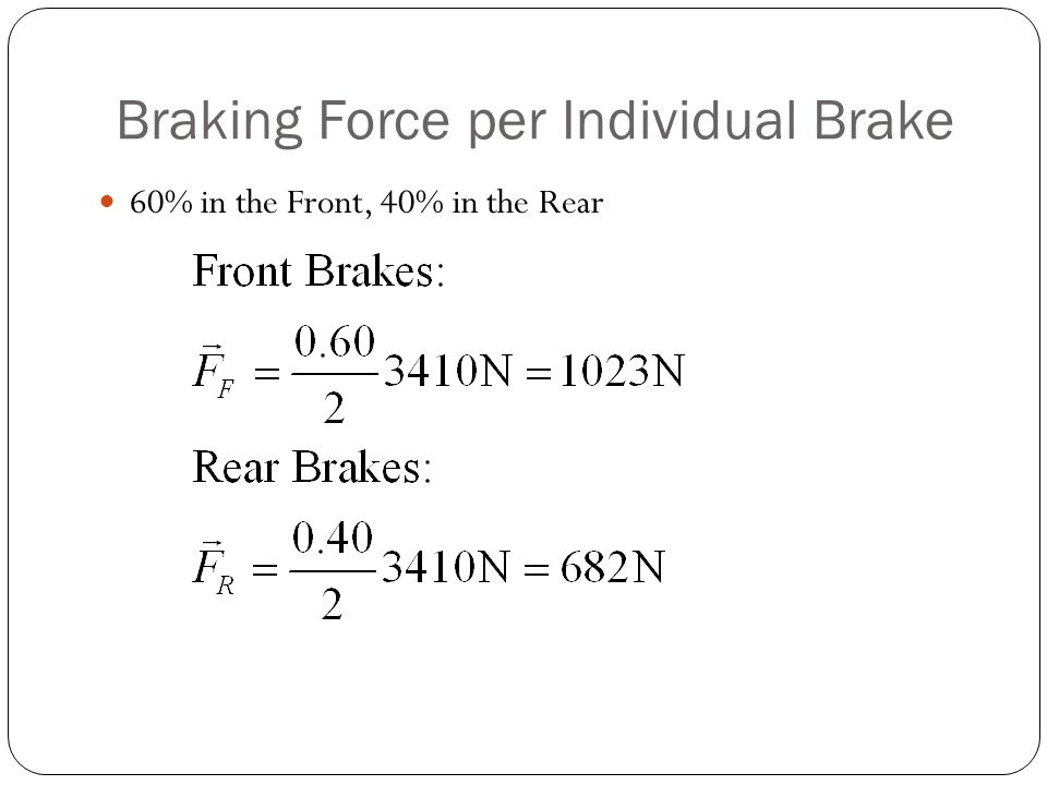 Braking Force per Individual Brake