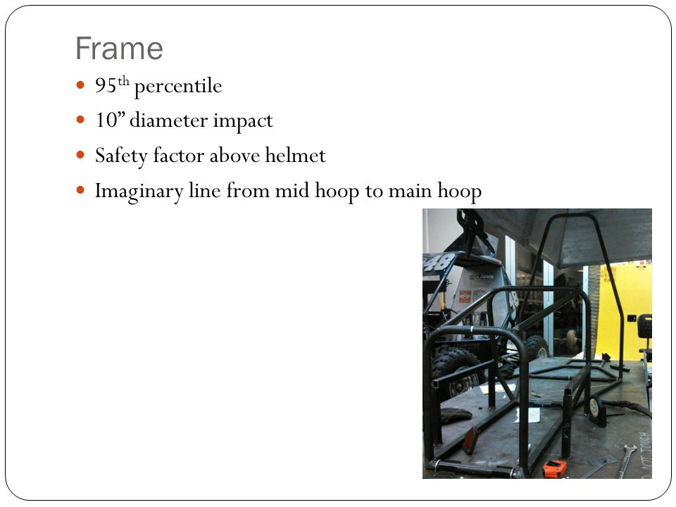 Frame 95th percentile 10 diameter impact Safety factor above helmet