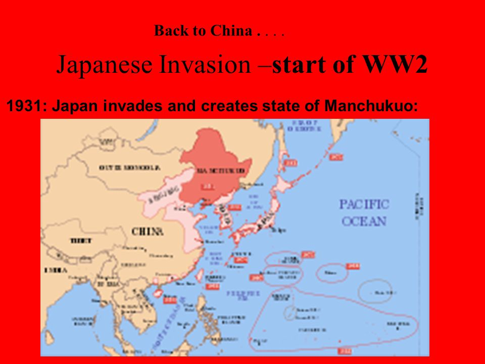 Japanese Invasion –start of WW2