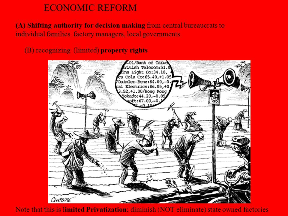 ECONOMIC REFORM (A) Shifting authority for decision making from central bureaucrats to individual families factory managers, local governments.