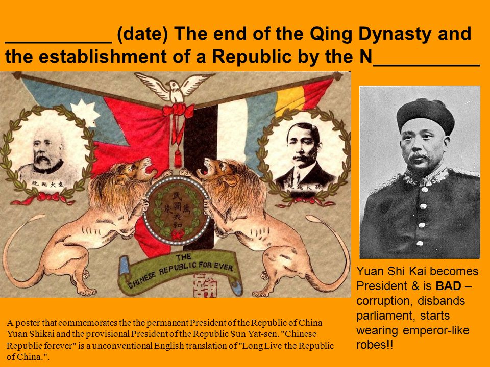 __________ (date) The end of the Qing Dynasty and the establishment of a Republic by the N__________